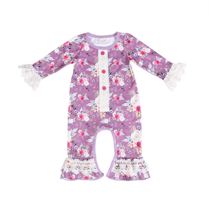 d65d15befc66 Children boutique clothing purple red and white rose bubble romper jumpsuit  baby