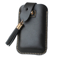 Handmade genuine leather cell phone case in black wallet, Contracted style snap fastener tassel leather phone card holders OEM