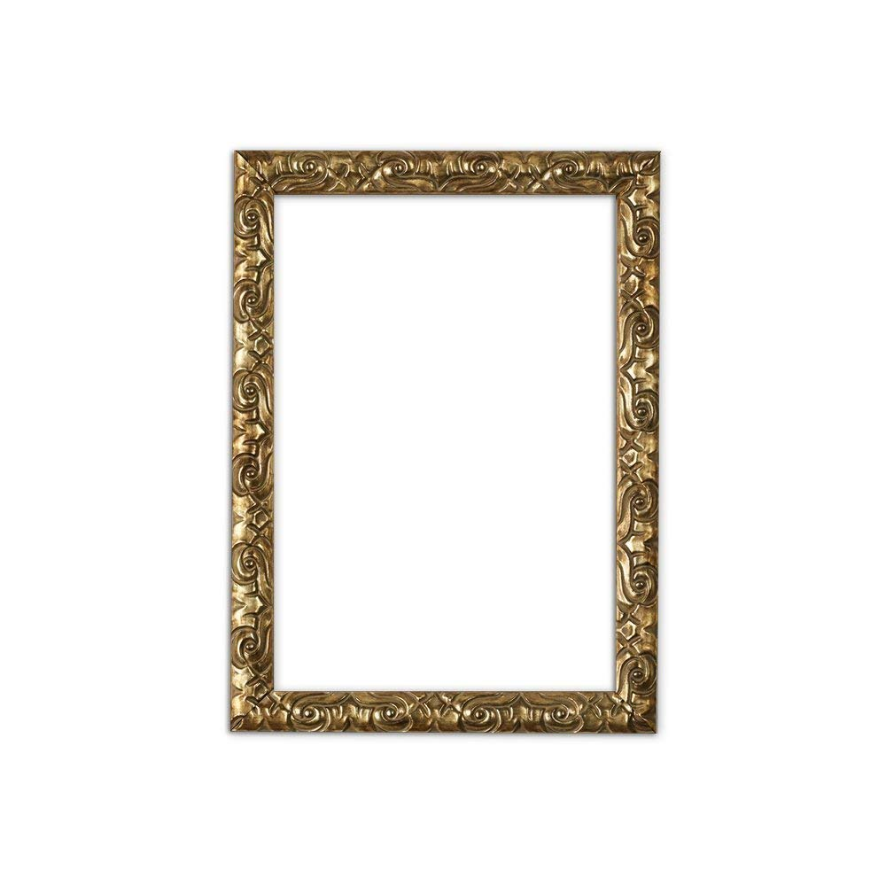 "Paintings Frames Ready To Hang Or Stand Antique Cushion Ornate Swept Picture/Poster/Photo Frame With High Clarity Styrene Shatterproof Perspex Sheet & MDF Backing Board 14""X11"" Gold"