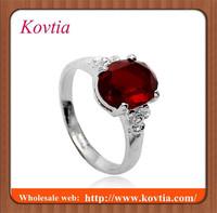 Fashion high end silver ruby engagement ring acero inoxidable joyeria