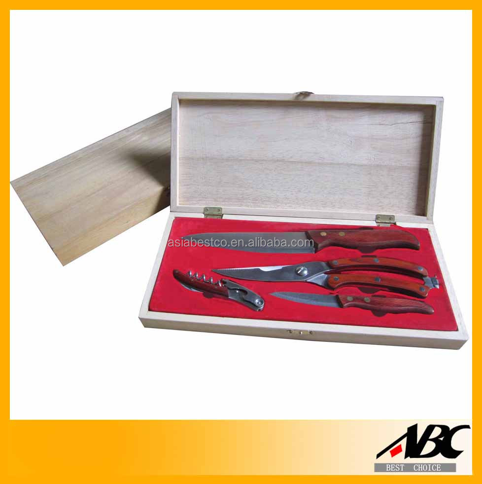 4pcs Kitchen Knife Set In Wooden Case