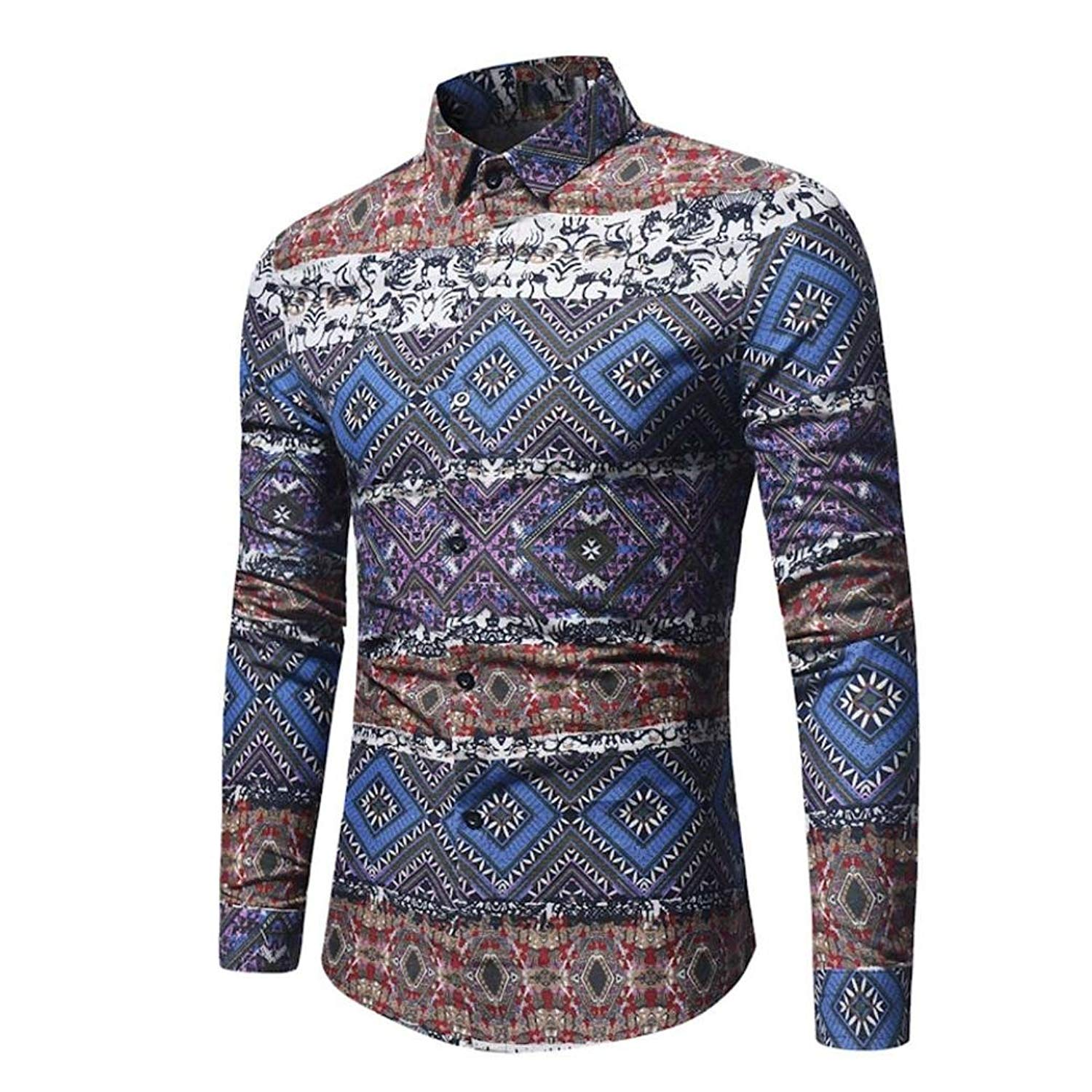 92e57f01 Get Quotations · Men's Retro Dress Shirt Ethnic Print Vintga Long Sleeve  Button Down Shirts Zulmaliu
