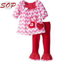 2016 Spring Girls Ruffle Shorts And Tunic Boutique Clothing Love 2pcs Pink Little Girls Valentine Outfit Clothes