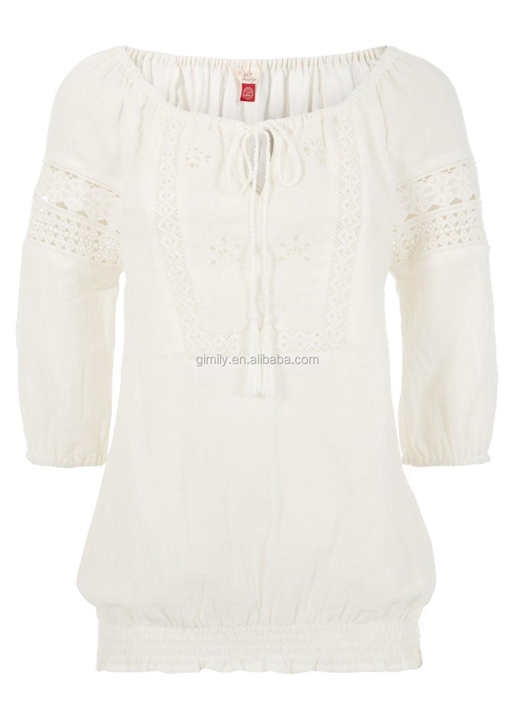 Lady Cotton Blouse Women Fashion Blouses Girls Fabric Tops 3/4 ...