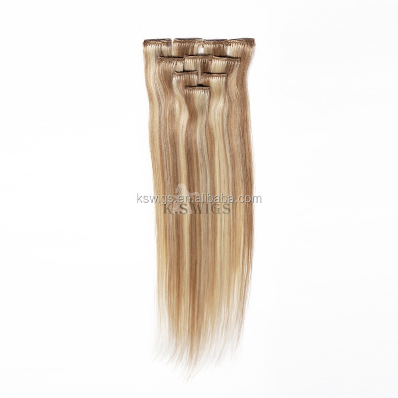 K.S WIGS Factory Price 32'' top quality full head real human hair clip extensions