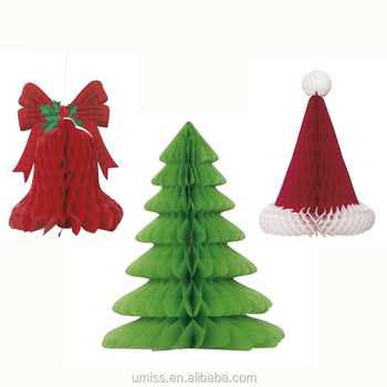 UMISS Christmas Table Centrepiece, Hanging Decoration, Paper Honeycomb  Santa Hats, Bells, Trees - Umiss Christmas Table Centrepiece,Hanging Decoration,Paper Honeycomb