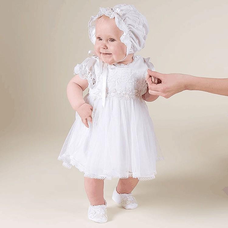 41b49fc2d Ropa de bebé niña bautismo vestidos de manga corta Blanca Flor vestido de  Bebé Ropa de