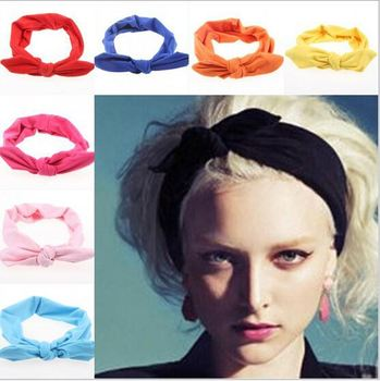 cc1588620e4 2015 korean boutique rabbit bunny ears top knotted twist headbands for  women adult infant girls baby