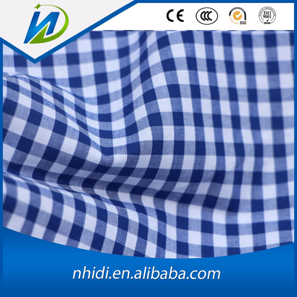 100 cotton white and blue check printed poplin shirt blouse fabric