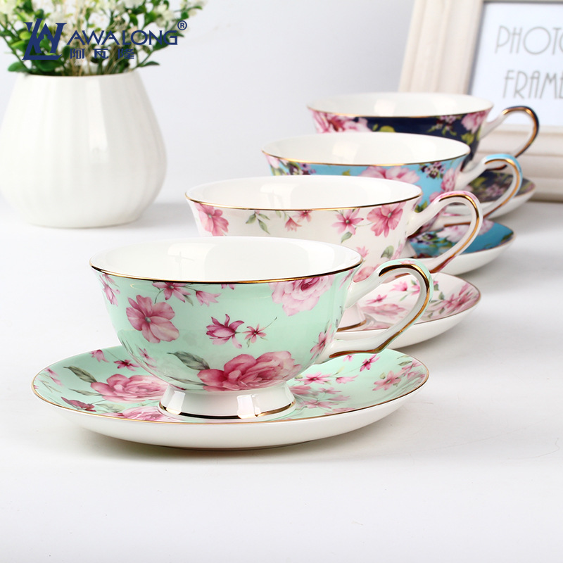 mini order bulk tea coffee floral 4pcs <strong>cup</strong> and 4 pcs saucers ceramic