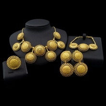 Ethiopian girls picture 24k gold plated bridal jewelry sets Africa jewelry sets for women in wedding