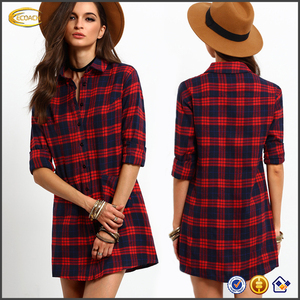 Ecoach wholesale double shirt ladies dresses Red Long Sleeve Lapel Grid Plaid Blouses shift dress
