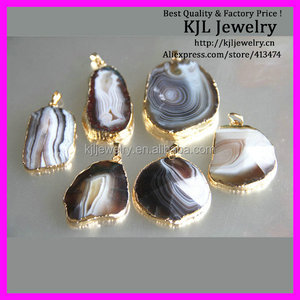 GZKJL-CT0098 Unique Freedom shape natural Agate Druzy jewelry geode pendant