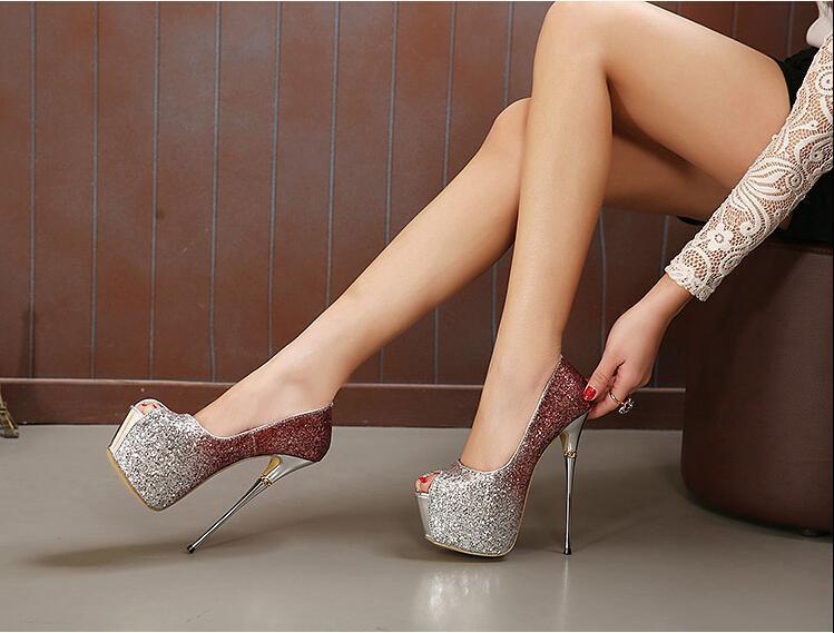 Sexy silver glitter boots
