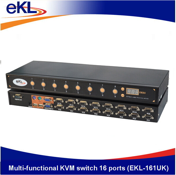 Metall shell video 16 ports KVM switcher, 16 eingang 1 ausgang, USB tastatur und maus made in China