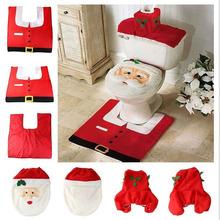 1 Set / 3pcs Happy Santa Claus Toilet Seat Cover Case and Rug Bathroom Set Christmas Decoration