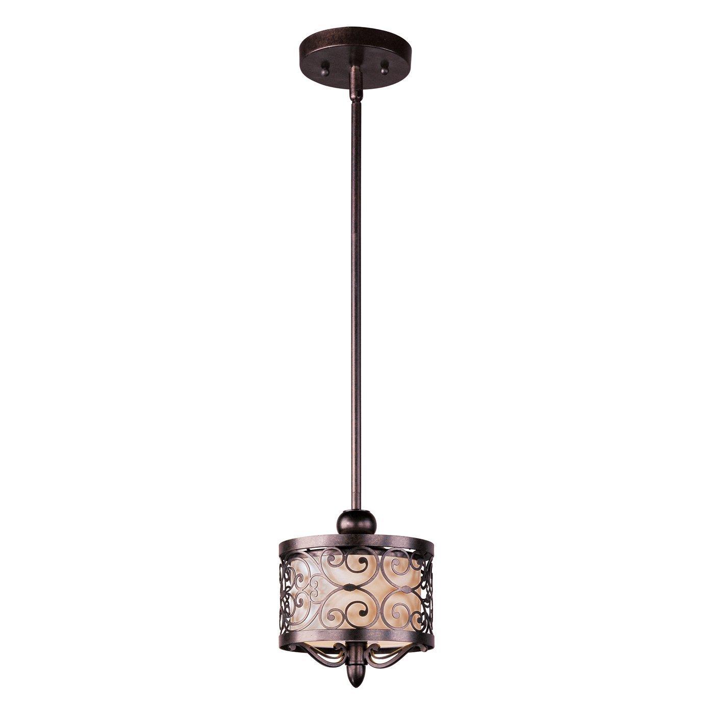 Maxim Lighting 91150WHUB Mondrian 1-Light Mini Pendant, Umber Bronze Finish with Off White Fabric Shade