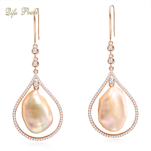 Unique 18K Rose Gold Large Baroque Pearls CZ Earring