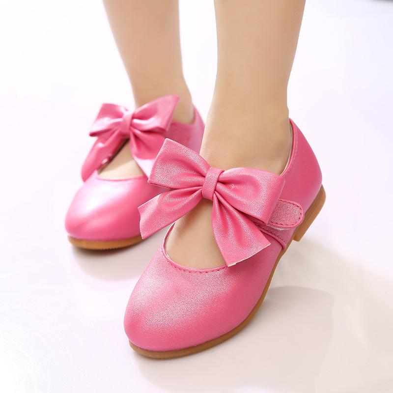 2015 children leather shoes girls princess dance shoes with bow for girls party shoes kids flat sheos single shoes gold pink red