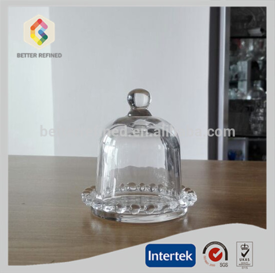 cupcake glass bell jar with fluted stand