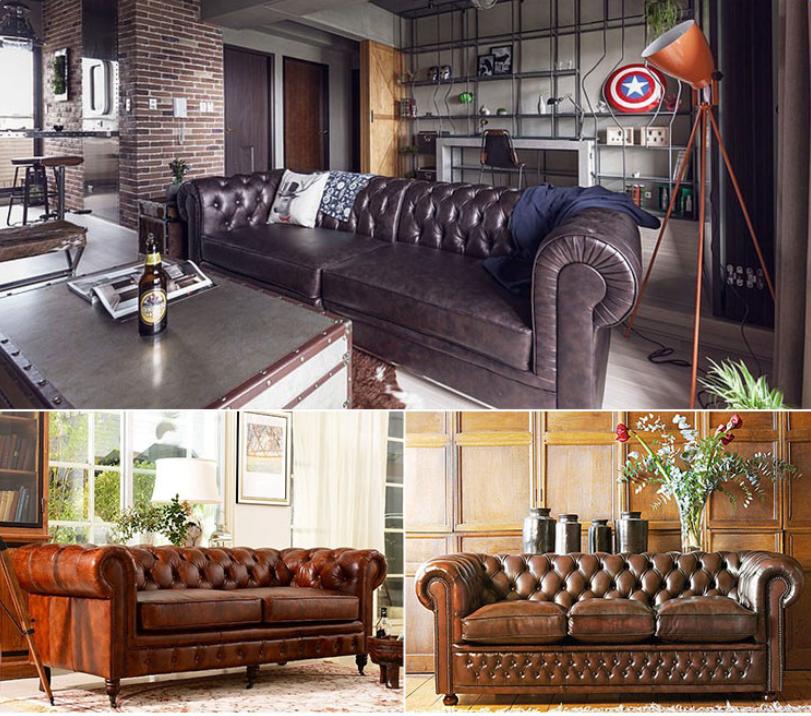 Barato china mobili rio sof de couro moldura de madeira for Mobiliario vintage barato