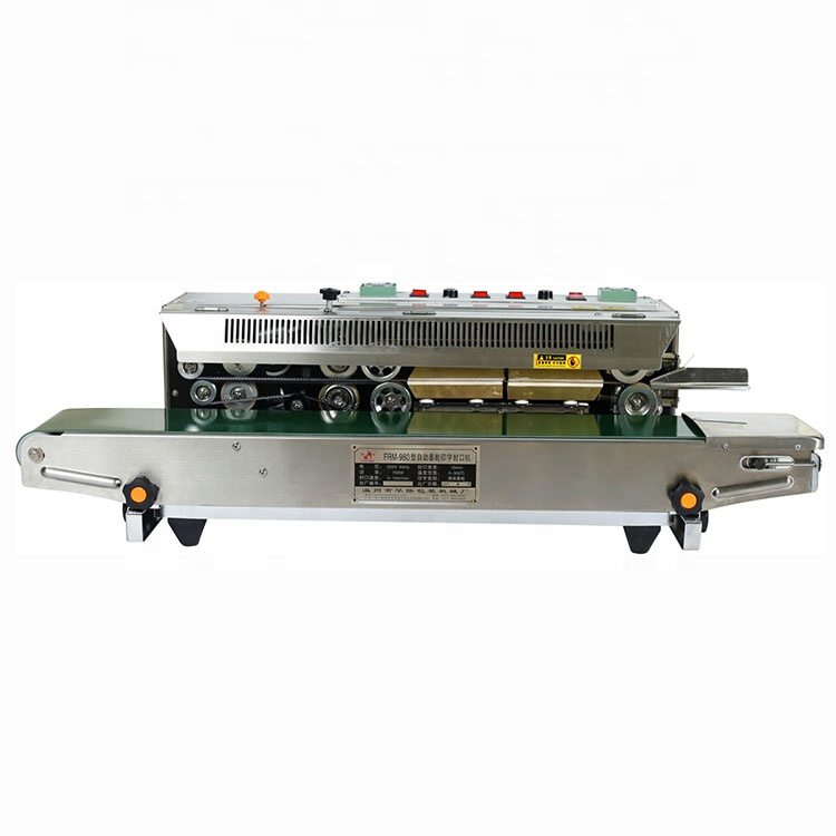 FRM-980W continuous band sealer with DATE PRINTING system