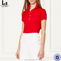 French style clothing made in china with your own logo quality women's red polo shirt