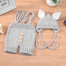 2pcs Cute Baby Studio Photography Props Clothing Set Infant Handmade Knitted Overalls + Hat Costume Newborn Photo Props