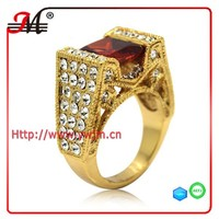 R7682F Jingmei fashion yellow gold plated clear cz red garnet princess cut engagement rings