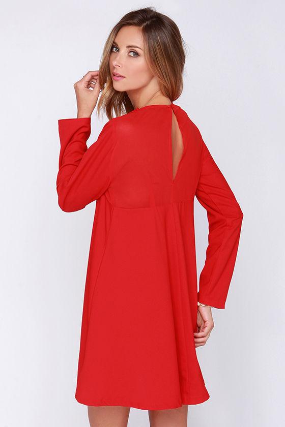 cbf34deb4696 2016 Red Chiffon Jewellery Neck Long Sleeve Custom Wholesale Shift Dress  for Woman