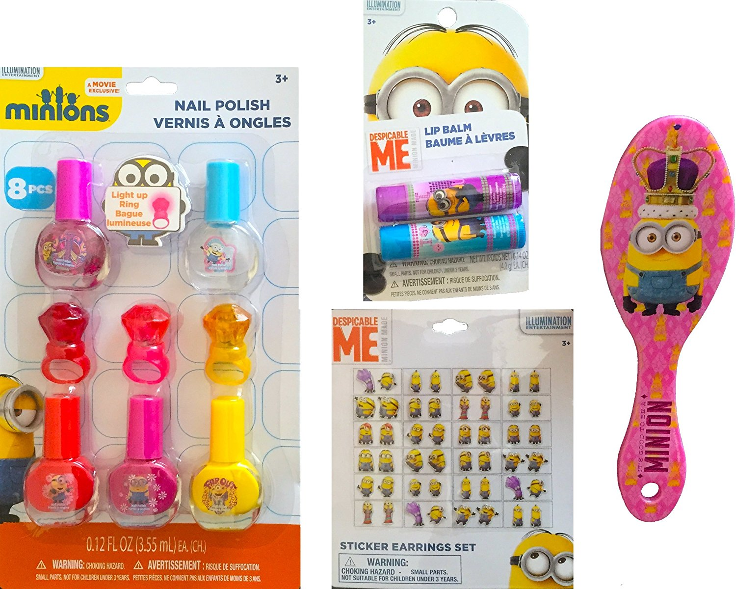 Minions Movie Exclusive Cosmetic Children's Pretend Play Gift Set Includes Minions Nail Polish with Light up Ring, Minions Sticker Earrings Set , Minions Lip Balm, and Minions Pink Comb