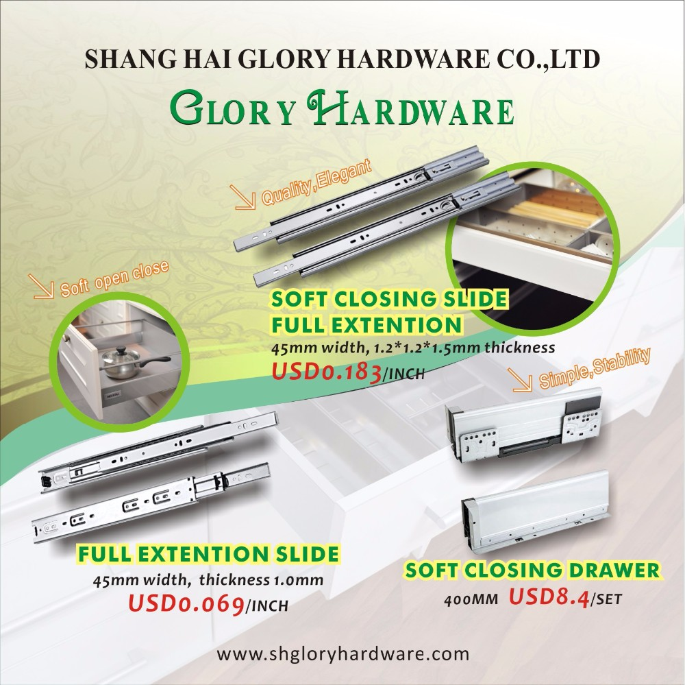 Hot sale furniture soft close drawer damper slider