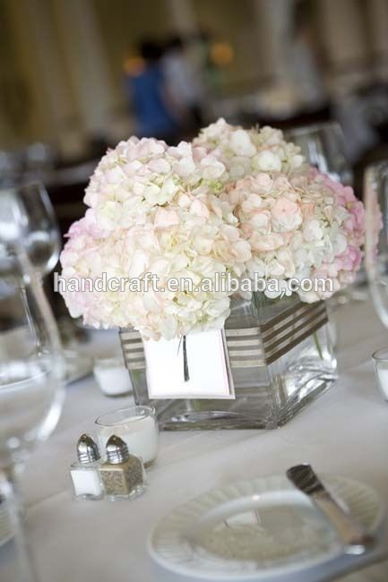 Blush and white tall centerpiece dahlias hydrangea curly
