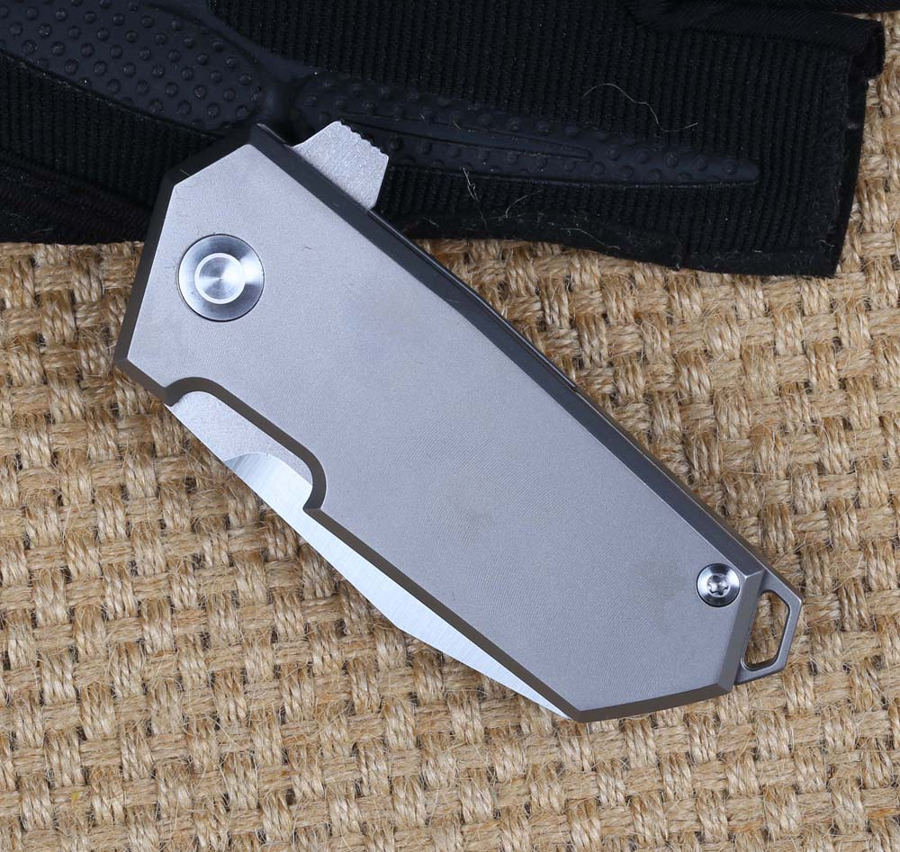 High quality small mini gray titanium handle d2 stainless steel pocket folding knife