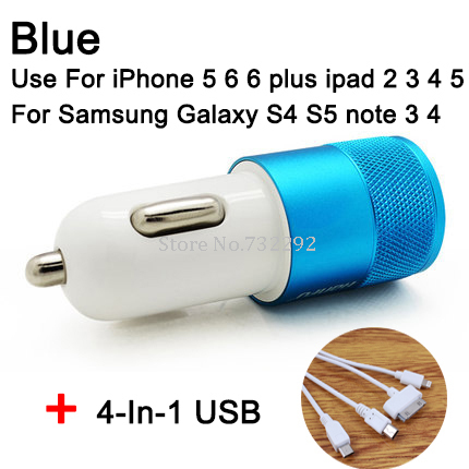 3.1A двойной автомобилей USB зарядное сплава 2 разъём(ов) универсальный быстрой зарядки для Ipone 5 5S 6 Ipad HTC Samsung Note3 4 с 4-в-1 USB кабель