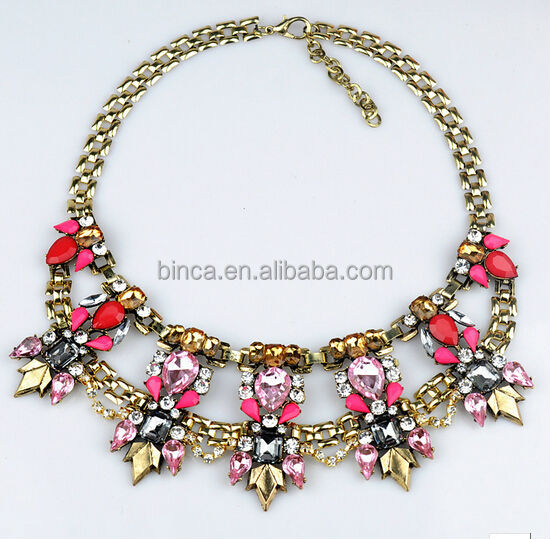 Fashion resins Necklace Alloy choker necklaces Resins statement necklaces N351