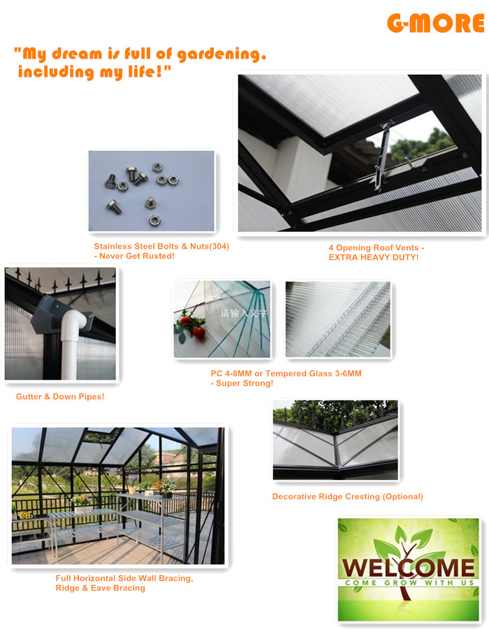 G-MORE Orangery Series, Extra Heavy Duty Classic English Style Easy DIY Orangery Hobby Glasshouse/Sun room (GM32606-B)