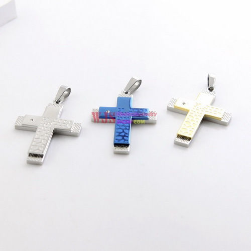 2014 Hot Sale Charming Unisex Cross Stainless Steel Pendant Necklaces With Faced Surface - Gold, Silver,Blue