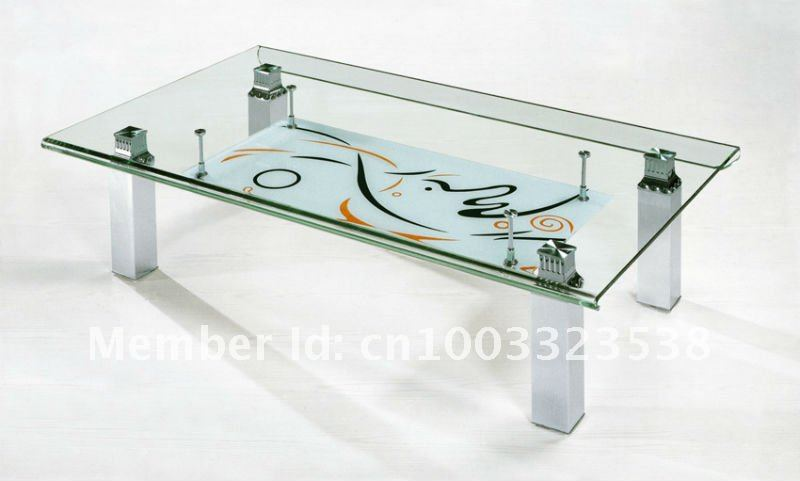12mm Tempered Glass Coffee Table Set H235 With Wooden
