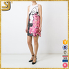 Women fashion sleeveless a-line embroidered white and pink blend shirt dress
