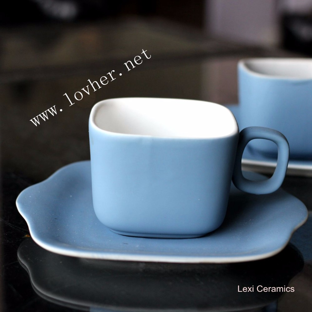 Special Design Rubber Painting Porcelain Square Coffee Cup And Saucer Set Fine Bone China Espresso Cups