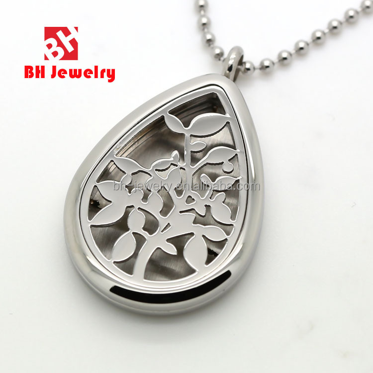 2016 Women Jewelry Oil Drop Hollow Aroma Therapy Stainless Steel Necklace Pendant Aromatherapy Locket