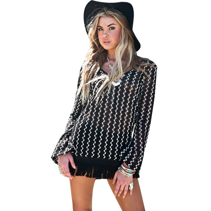 1671f5a3155 Get Quotations · V-Neck Tassel Long Blouse Shirt Flare Sleeve Sexy Feminine Blouse  Blusa Women Tops Female