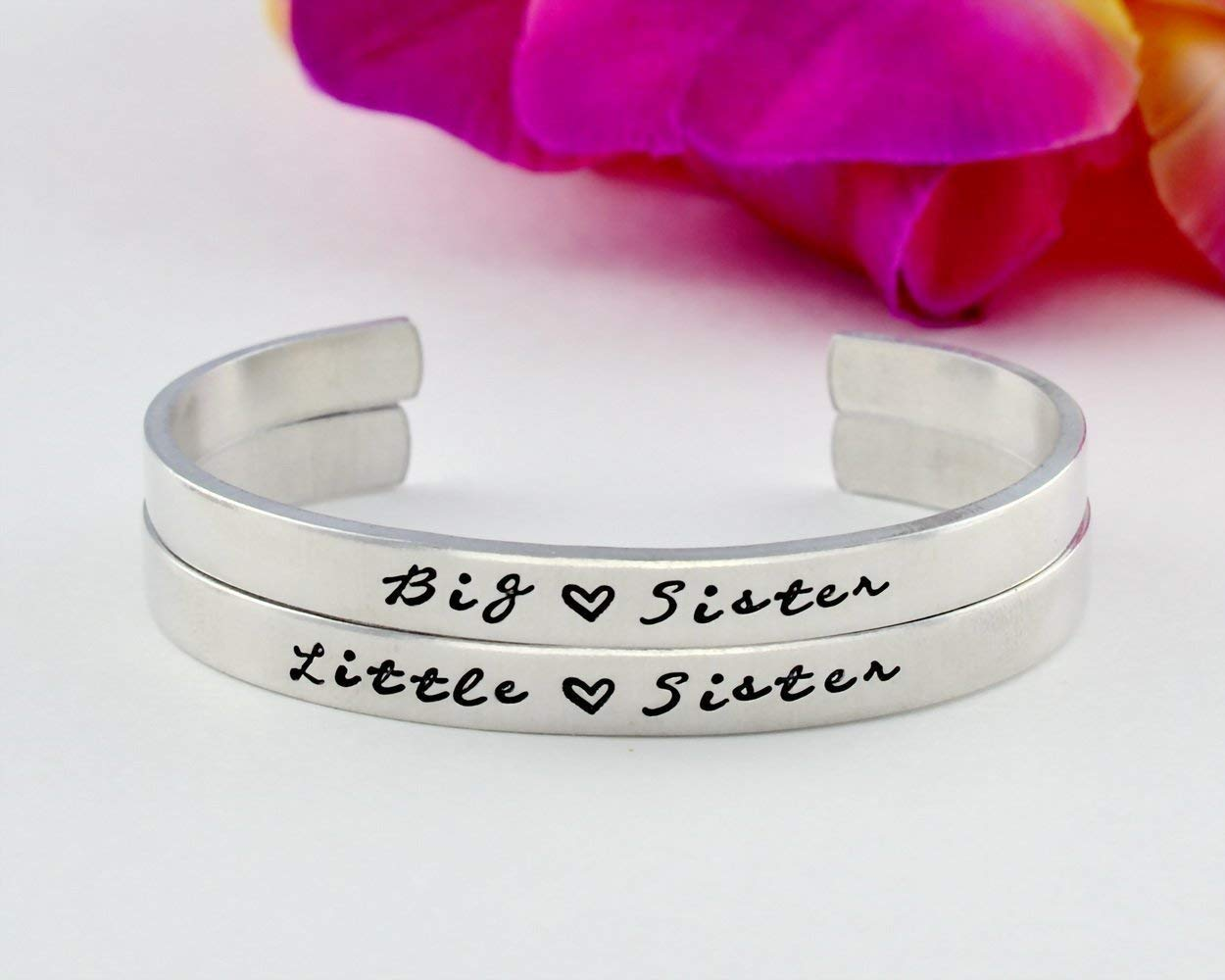 Big Sister Little Sister - Hand Stamped Aluminum Cuff Bracelets Set of 2, Big LIL Sis Sisters Jewelry, Sorority Best Friends BFF Personalized Gifts
