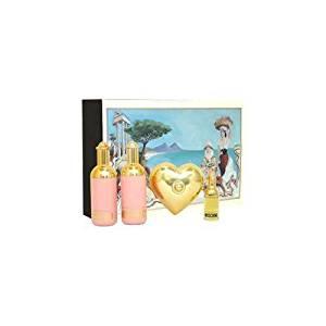 Moschino by Moschino for Women 4 Piece Set Includes: 0.13 oz Eau de Toilette + 0.8 oz Shower Gel + 0.8 oz Body Milk + 25g Soap w/dish