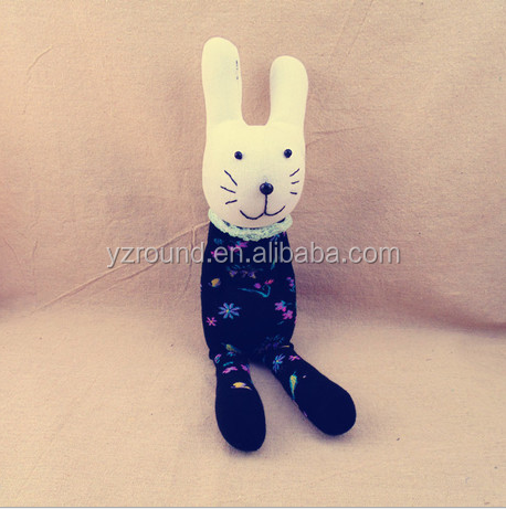 DIY sock toy knitted dark blue bunny cute gift toy doll