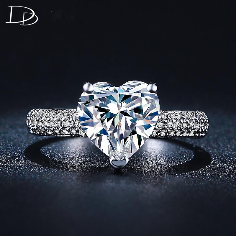 Big Heart 3 Carat Cz Diamond Jewelry Engagement Wedding