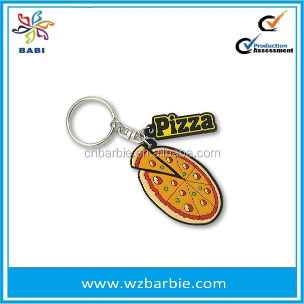 pvc custom pizza shaped keyring