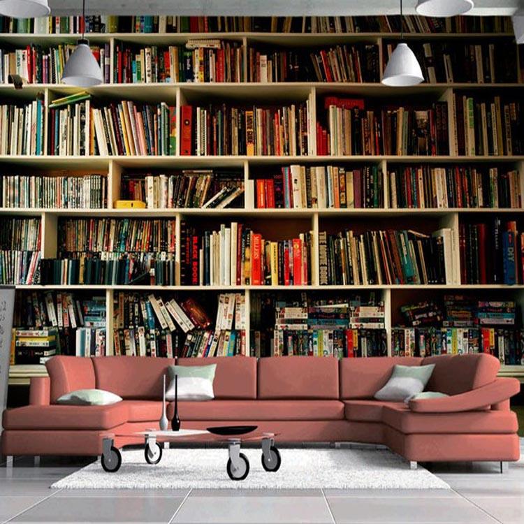 Nieuwe stijl voor interieur 3d effect boekenplank voor for Carta da parati libri