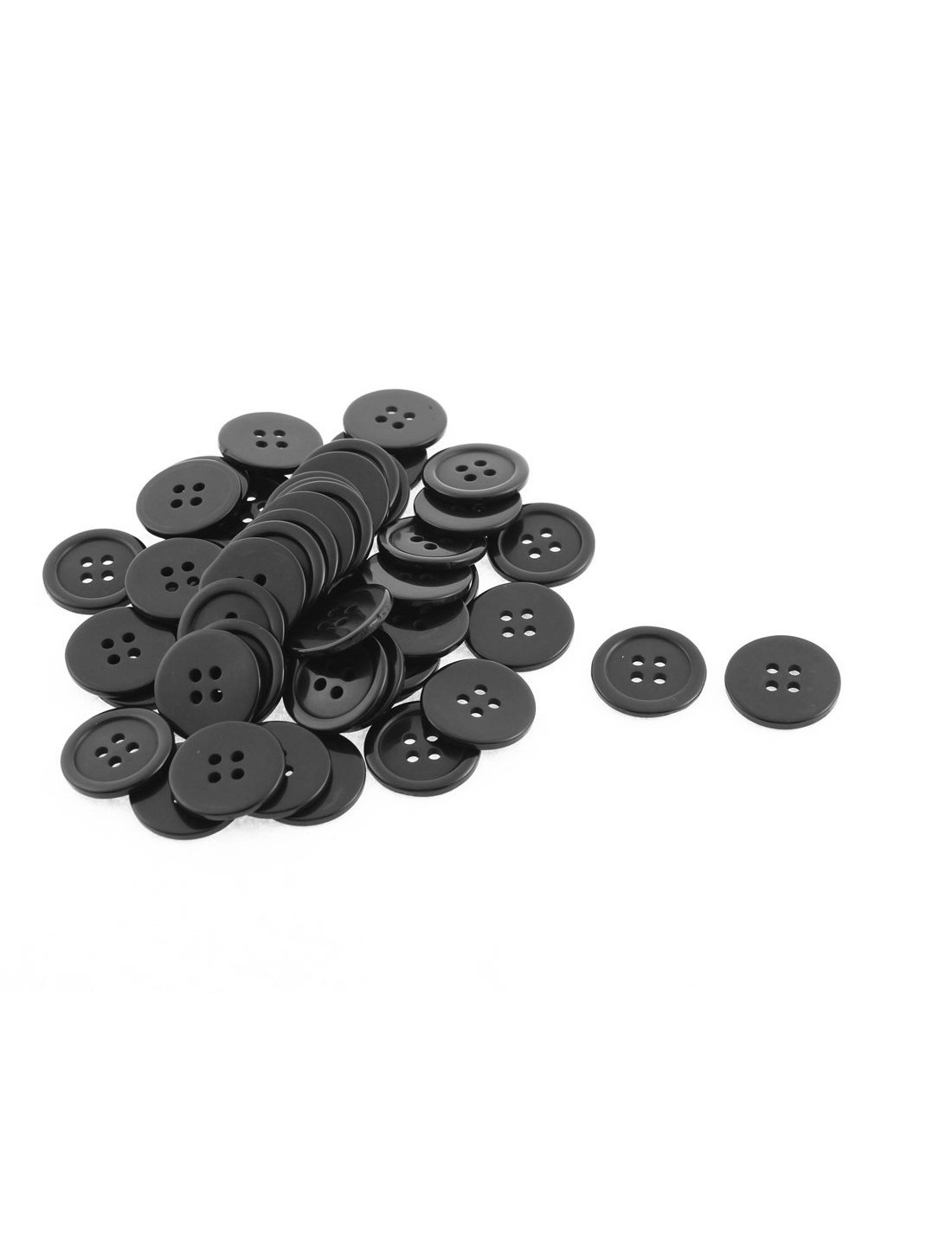 uxcell® 4 Holes Round Design Sewing Buttons Scrapbook 50Pcs Black